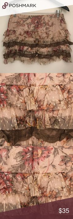 Lace mini skirt - Rina Scimento Fun mini skirt with flower lace detailing! Fun and easy to wear in the summer. I wore this skirt twice so it's as good as new! Rina Scrimento Skirts Mini