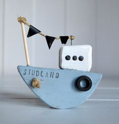 handmade Driftwood tug boat by UpcycleArtCreations on Etsy, $10.00