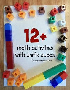 12 Hands-On Activities for little ones using unifix cubes including basic graphing, number sense, and addition.