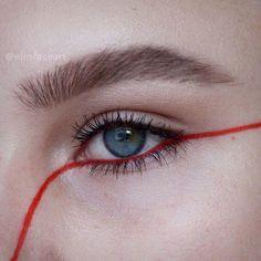 Red eyeliner make up Makeup Inspo, Makeup Art, Makeup Inspiration, Beauty Makeup, Hair Makeup, Body Makeup, Makeup Ideas, Beauty Tips, 70s Makeup