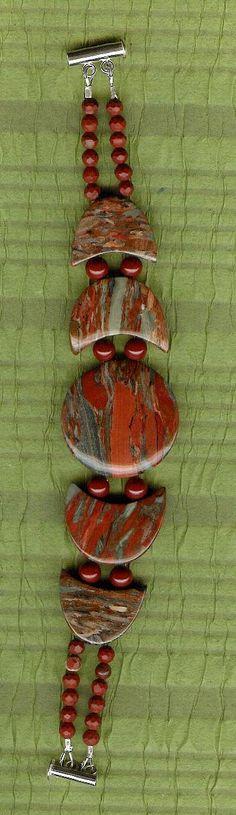 Bracelet  Brecciated Jasper Red Jasper Sterling by ChicStatements, $45.00