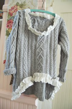 Grey Wool Mohair Cable Knit Sweater Upcycled Altered Clothing Rustic Fishermans Prairie Shabby Linen Gypsy BoHo