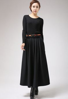 Black Wool Maxi Skirt Long Pleated Full skirt with by xiaolizi