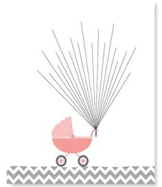 Fingerprint Baby Shower Alternative Guest Book Stroller Baby Carriage with Balloons Thumbprint Guest Book Gray Navy 8 x 10 or 11 x 14 Baby Shower Food For Girl, Baby Shower Niño, Shower Bebe, Baby Shower Themes, Baby Shower Gifts, Shower Ideas, Thumbprint Guest Books, Baby Carriage, Guest Book Alternatives