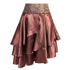Asymmetric Steampunk inspired tiered skirt in a lightweight brown satin fabric. Attached to the skirt are brass D-rings and chains however the most eye-catching part of this design is the intricate detailed waistband that features a beaded applique onto faux leather.The waistband is shaped for a better fit and is in a sophisticated dark brown brocade.