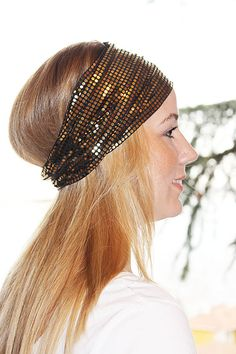 Gold Leaf Womens Headband LeafPoint Stretchy  Hair by aynurdereli, $14.00