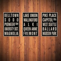 Seattle COLLECTION of 3 Subway Sign Prints. Bus Scrolls. 12 x 18