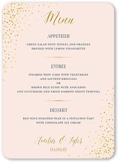 Effervescent Sparkle Wedding Menu by East Six. Give your wedding guests a taste of what's to come with an unforgettable menu. Coordinate the design with your wedding stationery suite for the perfect match. Birthday Dinner Menu, Dinner Party Menu, Birthday Dinners, Brunch Menu, Dinner Parties, 40th Birthday, Dinner Ideas, Star Wedding, Sparkle Wedding