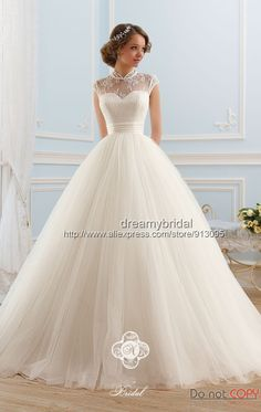 Wedding Dresses Simple, Glamorous Tulle High Collar Neckline Ball Gown Wedding Dress, Shop discount wedding dresses and sales. Don't miss out, shop clearance wedding dresses before they're gone! Princess Wedding Dresses, White Wedding Dresses, Bridal Dresses, Wedding Gowns, Tulle Wedding, Mermaid Wedding, Elegant Ball Gowns, Elegant Gown, White Ball Gowns