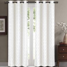 White 84x84 Willow Pair (Set of 2 ) Jacquard Blackout Thermal Insulated Window Curtain Panels