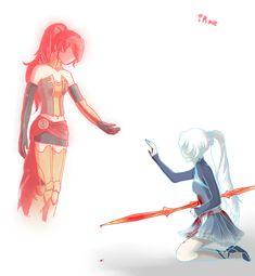 """I thought, for only a moment, I saw her. Don't go toward the light Weiss. Dc Anime, Rwby Anime, Rwby Fanart, Anime Art, Rwby Pyrrha, Red Like Roses, Rwby Volume, Rwby Memes, Rwby Red"