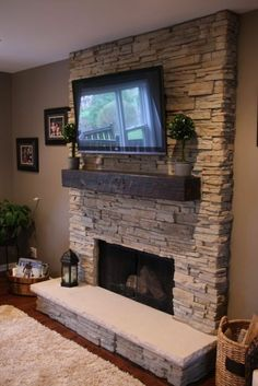 Small home Makeover - Awesome Fireplace Makeover Ideas. - Small home Makeover – Awesome Fireplace Makeover Ideas… - Gas Fireplace Mantel, Tv Above Fireplace, Basement Fireplace, Fireplace Remodel, Fireplace Surrounds, Fireplace Ideas, Fireplaces With Tv Above, Corner Fireplaces, Stone Fireplace Makeover