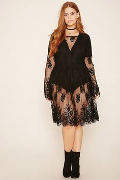 Plus Size Sheer Lace Dress (plus size) #plussizefashion #dress #summer