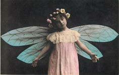 Fairy Girl with Blue Wings and Flowers in Hair Modern Postcard | eBay