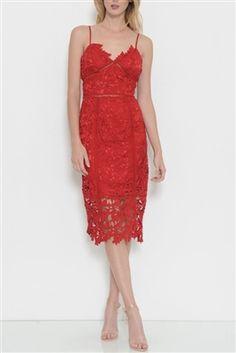 Lace Midi Dress http://www.larlena.com/Lace_Midi_Dress_p/ld6714.htm www.larlena.com #lacedresses #fashion #reddress #spaghettistrap