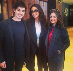 Shay Mitchell, Tyler Blackburn & Lucy Hale attending ABC Family Winter Wonderland red carpet event.