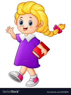 Cute girl walk holding book vector image on VectorStock Drawing for kids Kids doodles Drawing book pdf