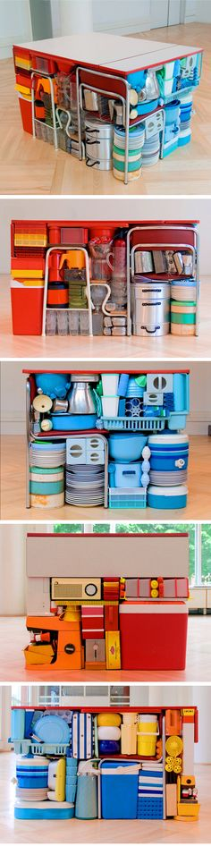 Swedish artist Michael Johansson has meticulously and compactly organized all sorts of things like suitcases, gardening tools, books, computer equipment, camping gear etc etc…