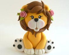 Lion girl cake topper fondant or cold porcelain Fondant Wedding Cakes, Fondant Cake Toppers, Custom Cake Toppers, Custom Cakes, Fondant Cupcakes, Cupcake Toppers, Lion Cakes, Lion King Cakes, Shower Bebe