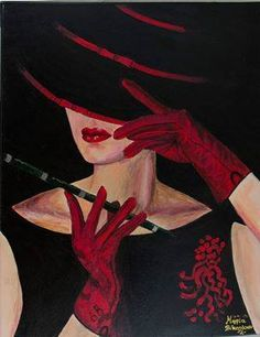 "theme from internet . Acrylic colors. ""the lady with cigar"""