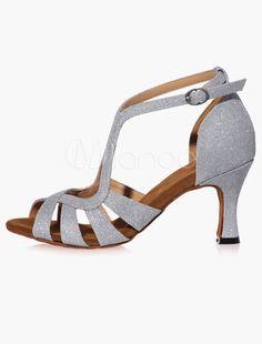 c543e5e32ad Chaussures de danse latine Paillette à talons évasés ruban aux chevilles