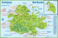 Antigua Map Med School Pinterest Antigua Tourist map and Cruises