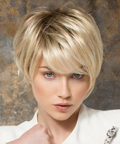 Charming Light Blonde Mixed Synthetic Short Inclined Bang Capless Straight Wig For Women