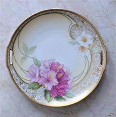 Antique floral plate  antique plate  Tillowitz by SumertaDesigns