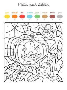 Ausmalbild Malen nach Zahlen: Kürbisse ausmalen k. Halloween Costumes For 3, Theme Halloween, Halloween Crafts For Kids, Diy Halloween Decorations, Fall Crafts, Halloween Diy, Halloween 2019, Halloween Treats, Halloween Pumpkins