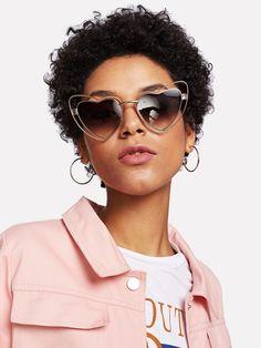 Two Tone Frame Flat Lens Glasses Curvy Women Fashion, Womens Fashion For Work, Heart Shaped Glasses, Winter Fashion Boots, Classic Style Women, Black Sunglasses, Medium Hair Styles, Heart Shapes, Romwe