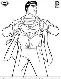 Superman color page. Cartoon characters coloring pages. Coloring pages for kids. Thousands of free printable coloring pages for kids! Super Hero Coloring Sheets, Free Coloring Sheets, Coloring Pages For Boys, Coloring Pages To Print, Free Printable Coloring Pages, Coloring Book Pages, Adult Coloring, Kids Coloring, Superman Coloring Pages