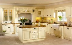 Kitchen : Wooden Kitchen Countertops With Classic Design Cabinets L Shape With Small Cupboards For Modern Country Model Kitchen Ideas collection picture brandnew model kitchen ideas Kitchen Design Ideas' Kitchen Ideas Cook Room Cabinets Home Depot as Wooden Kitchen Cabinets, Kitchen Doors, Kitchen Countertops, New Kitchen, Wooden Counter, White Cabinets, Kitchen White, Kitchen Ideas, Cream Country Kitchen