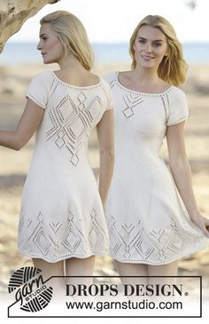 """Knitted DROPS dress with lace pattern and raglan in """"Muskat"""" or """"Belle"""". Worked top down. Size: S - XXXL. ~ DROPS Design"""
