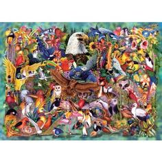 """A bald eagle is front and center in a group of dozens upon dozens of exotic birds in this 1500-piece jigsaw puzzle by Sunsout. Artist: Steven Michael Gardner. Finished puzzle 33""""x24"""". SunsOut offers an incredible range of jigsaw puzzles, with piece counts from as small as 48 pieces to as high as 6,000 and they come in over 70 unique shapes and sizes. Every one of their products is proudly made in the USA by an environmentally conscious company that uses soy-based inks and recycled board."""