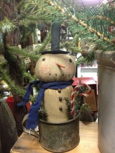 Primitive Snowman in Vintage Tin Cup