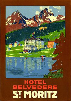 Vintage Swiss LL: The Bellvadere Hotel Luggage Stickers, Luggage Labels, Vintage Ski Posters, Vintage Postcards, Trieste, Budapest, Travel Tags, Travel Souvenirs, Tourism Poster