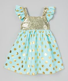 Love this Mint & Gold Sequin Angel-Sleeve Dress - Infant, Toddler & Girls by Just Couture on #zulily! #zulilyfinds