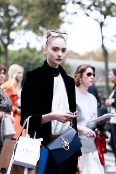 Ava Dahlem, street style, fall winter, black coat, sunglasses, top knot