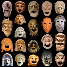 "The Ancient Greek term for a mask is ""prosopon"" (""face"") and was a significant element in the worship of Dionysus at Athens. Also, in the beginning stages of ancient Greek Theatre, masks were made out of light wood, linens, cork and sometimes hair. Ancient Greek Costumes, Ancient Greek Theatre, Ancient Greek Art, Ancient Rome, Ancient Greece, Egyptian Art, Ancient Aliens, Greek History, Ancient History"