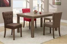 D1381 7 pcs Dining Set D1381 Microfiber Dining Chair 19x22x37 D2403 Table 60x38x30 Available colores: chocolate (D1381),khaki (D1384), red (D1383), saddle (D1382)
