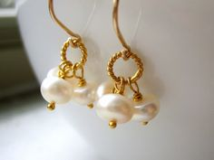 Button Pearl Triple Drop Earrings - Gold - Wire Wrapped - June Birthstone. $25.00, via Etsy.