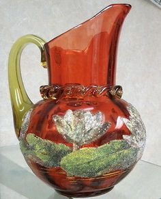 moser / harrach cranberry pitcher Coraline / Coralene Water Lilly pond marked /