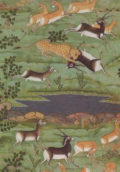 detail, Shah Jahan Hunting Deer with Trained Cheetahs, Rajasthan, c. 1710