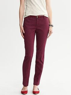 THESE PANTS.  Camden-Fit Red Print Ankle Pant | Banana Republic
