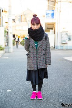 Magenta Hair, Mary Quant Jacket, Comme des Garcons & Nike Sneakers in Harajuku (Tokyo Fashion, 2015)