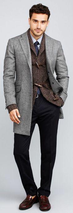 comment etre elegant avec un manteau gris, les hommes qui aiment la mode