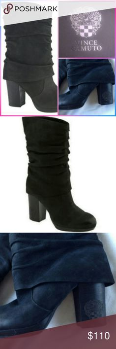 """Vince Camuto """"Cassandra"""" Black Boot sz.6B~LN Like New,worn once to a indoor event. Gorgeous pair of VC fold over boots. Nice chunky 3"""" heel for comfort, like all VC these are very comfortable to wear. Absolutely no issues! Black leather. Size 6B Fast Ship! Vince Camuto Shoes Heeled Boots"""