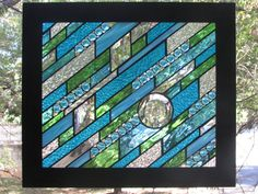 Framed Stained Glass Panel by GKYCreations on Etsy