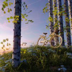 Enjoy the work of Iwo Pilc from Kopaniec, Poland! Bike, Sunset, Yellow, Outdoor Decor, Artwork, Reuse, Poland, Felt, 3d