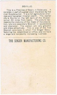 Singer Sewing Machine's World, 1892, Spain Trade Card